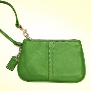 COACH green pebbled leather wristlet wallet